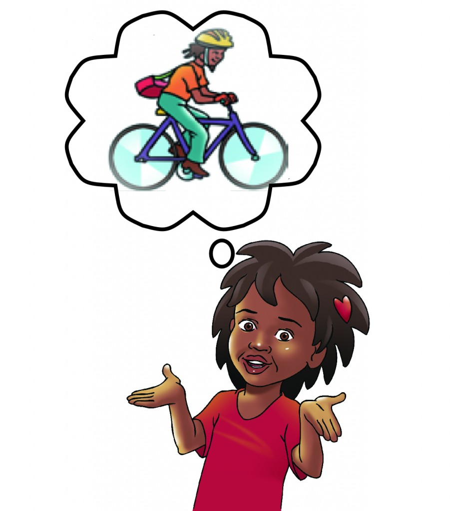 Sibo imagining her Dad on a bike