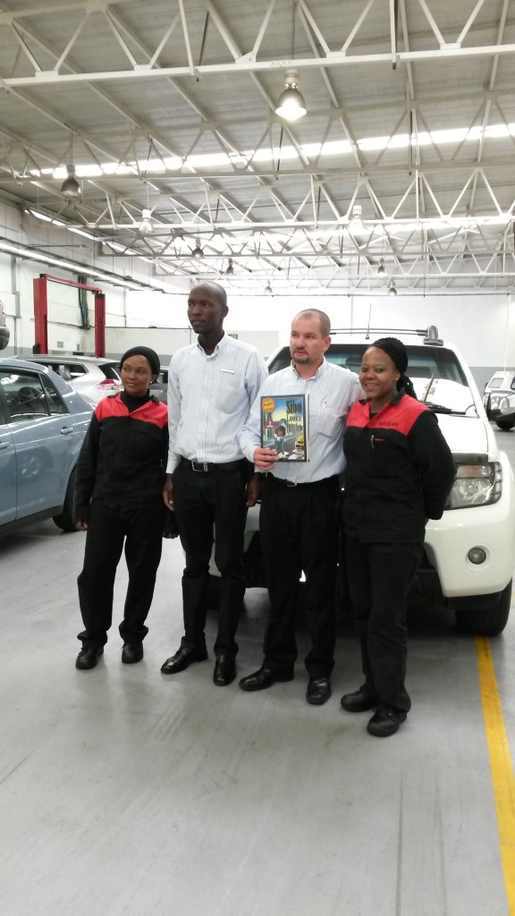 The lady mechanics I was telling you about - Lydia, Lazarus, Paul and Thuli